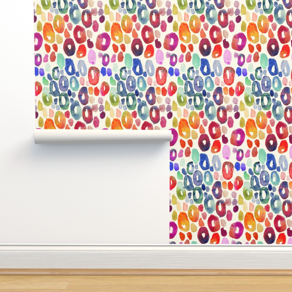 Isobar Durable Wallpaper featuring Rainbow Watercolor Animal Print by theartwerks