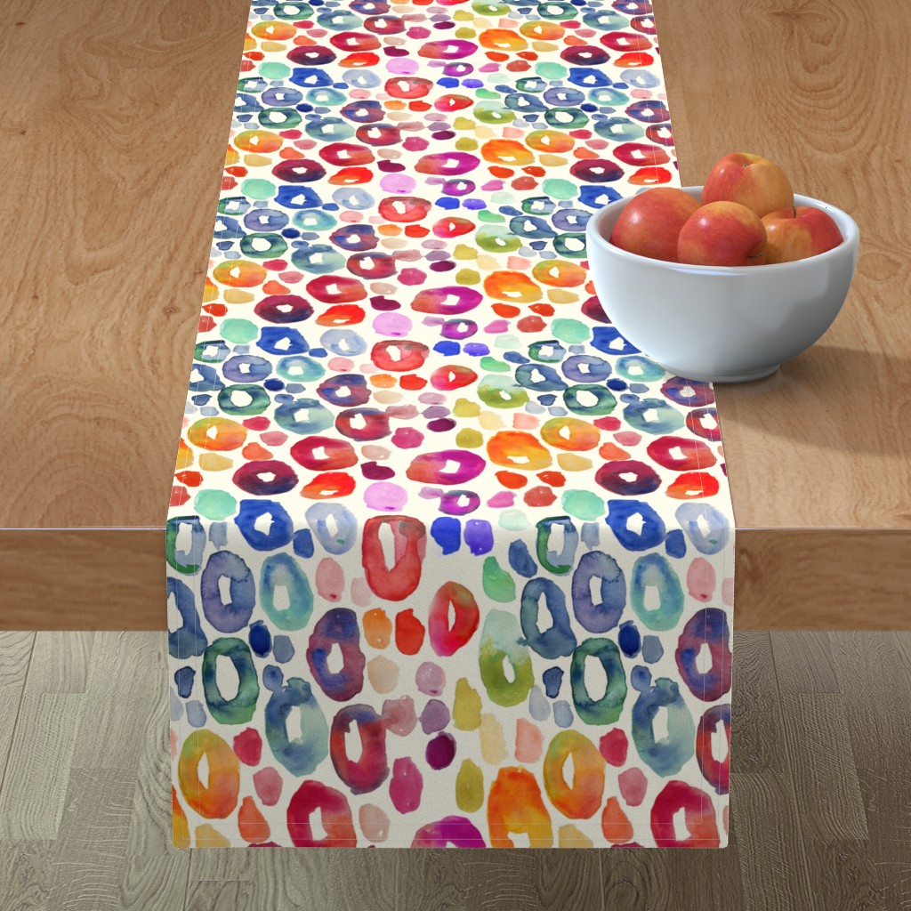 Minorca Table Runner featuring Rainbow Watercolor Animal Print by theartwerks