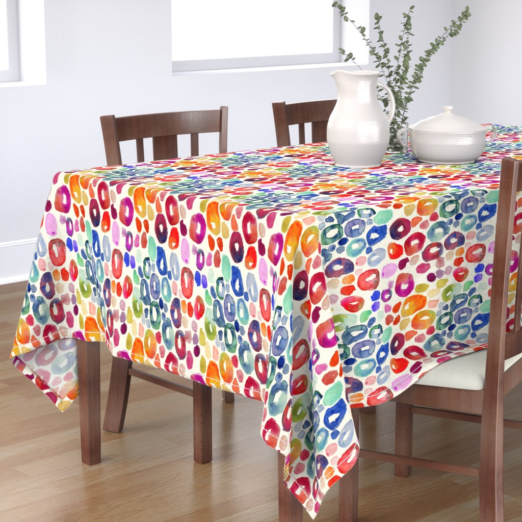 Bantam Rectangular Tablecloth featuring Rainbow Watercolor Animal Print by theartwerks