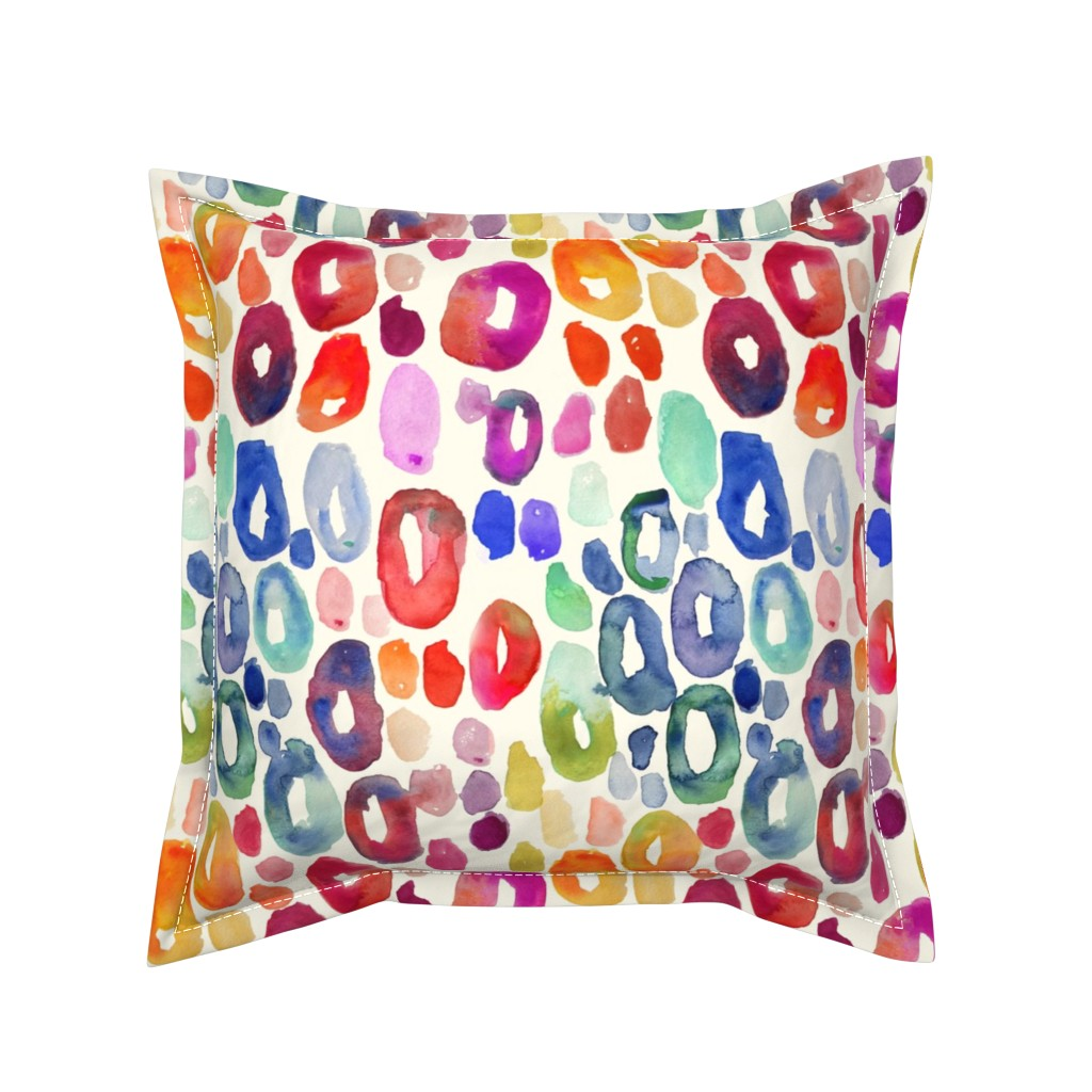 Serama Throw Pillow featuring Rainbow Watercolor Animal Print by theartwerks
