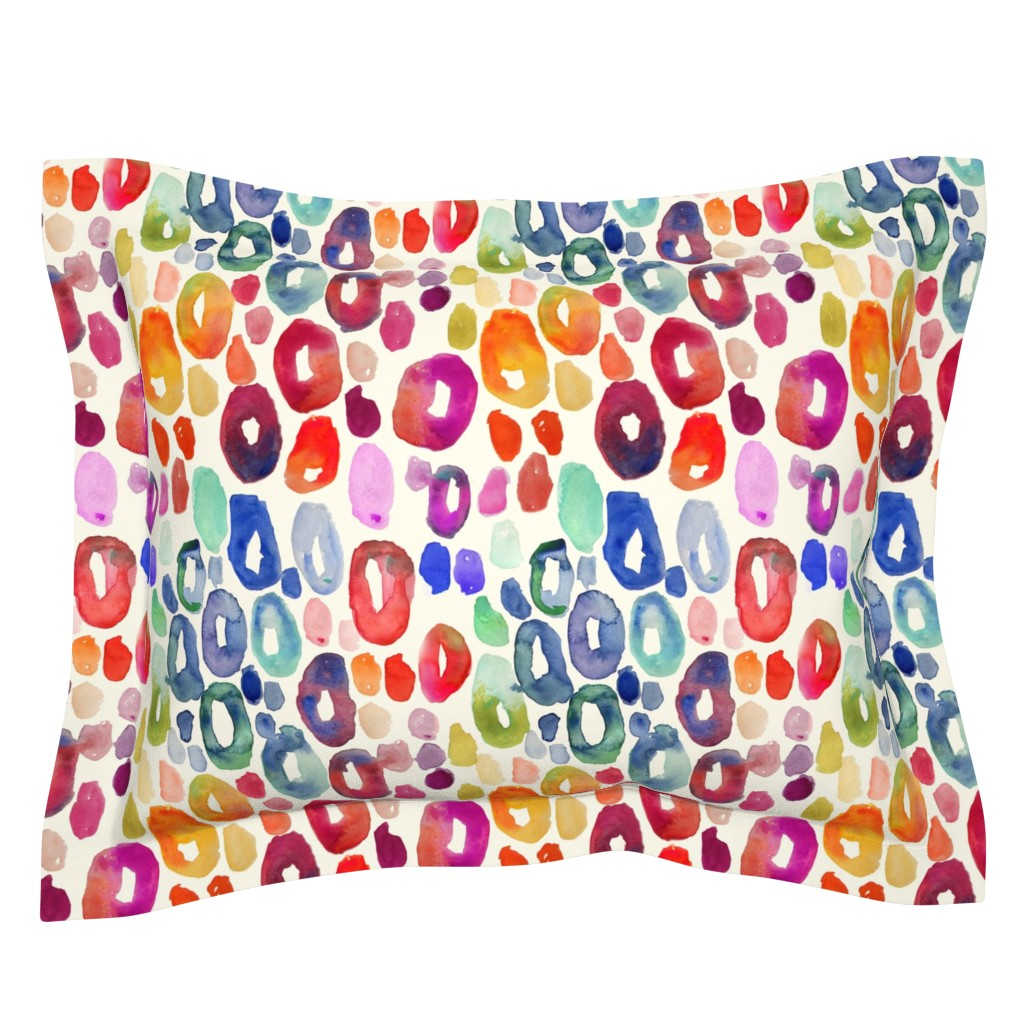 Sebright Pillow Sham featuring Rainbow Watercolor Animal Print by theartwerks