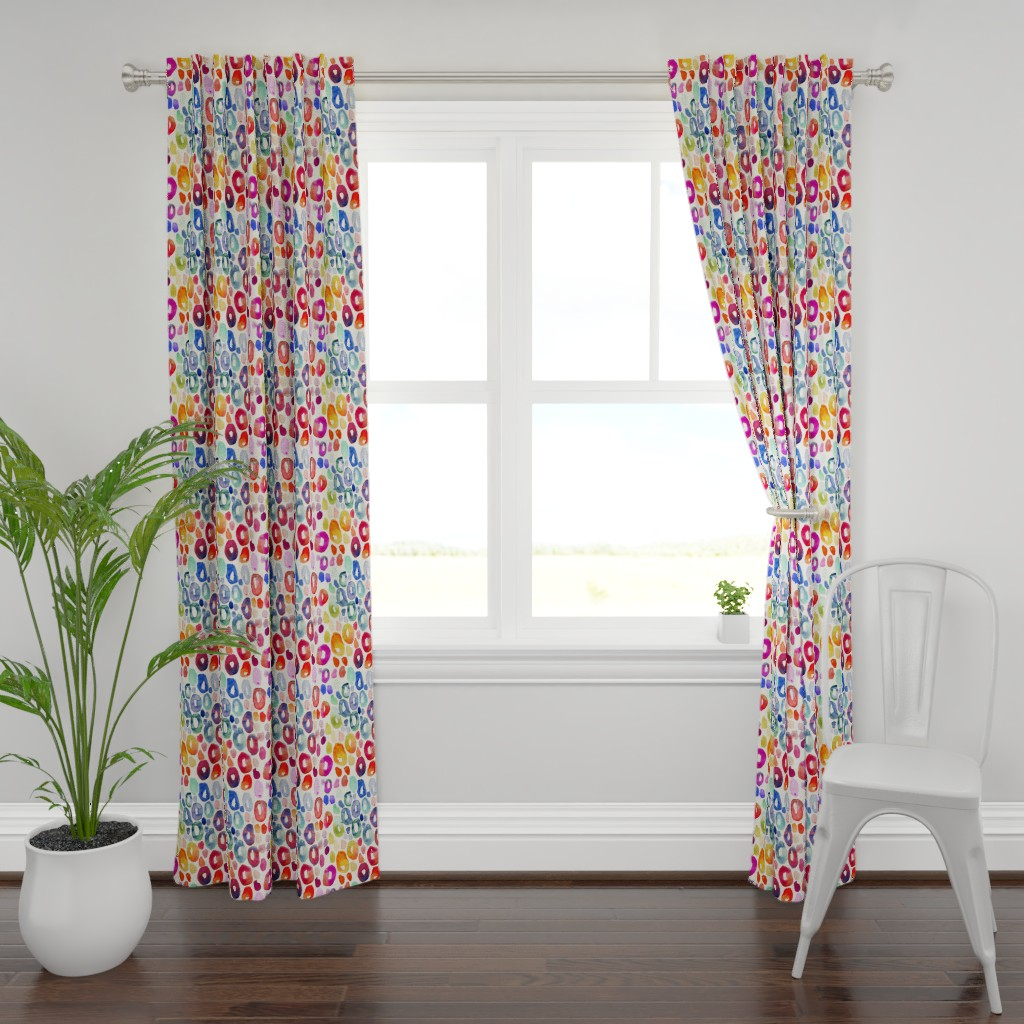Plymouth Curtain Panel featuring Rainbow Watercolor Animal Print by theartwerks