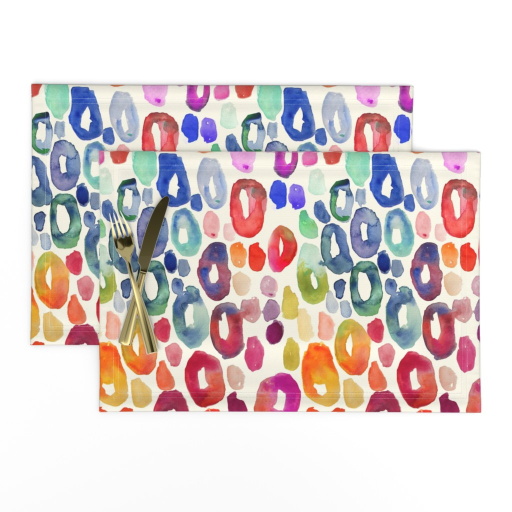 Lamona Cloth Placemats featuring Rainbow Watercolor Animal Print by theartwerks