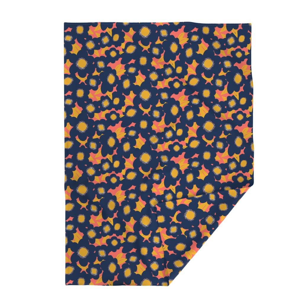 Lakenvelder Throw Blanket featuring Limited Palette Navy, Coral, Goldenrod by lauriekentdesigns