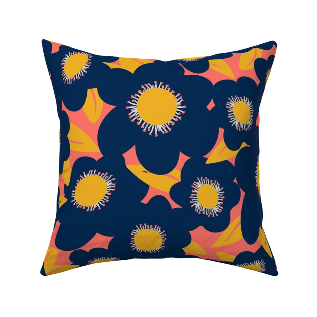 Catalan Throw Pillow featuring Limited Palette Navy, Coral, Goldenrod by lauriekentdesigns