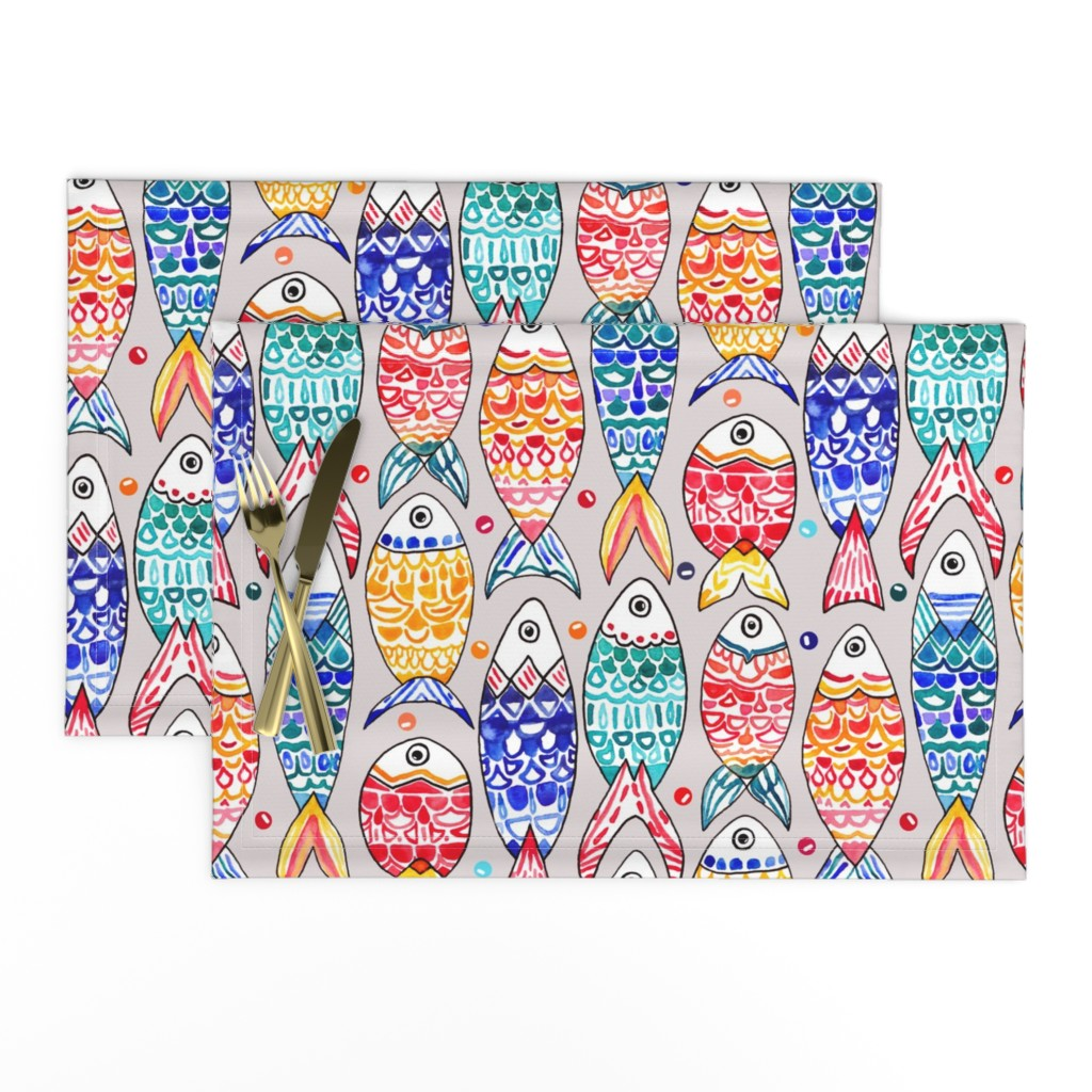 Lamona Cloth Placemats featuring Fish Scales Print (Large Version) by tigatiga