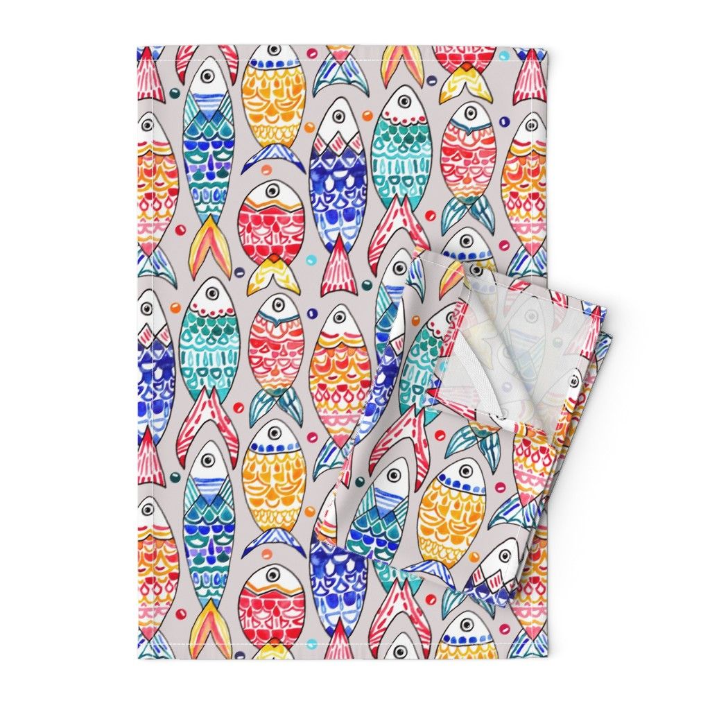 Orpington Tea Towels featuring Fish Scales Print (Large Version) by tigatiga