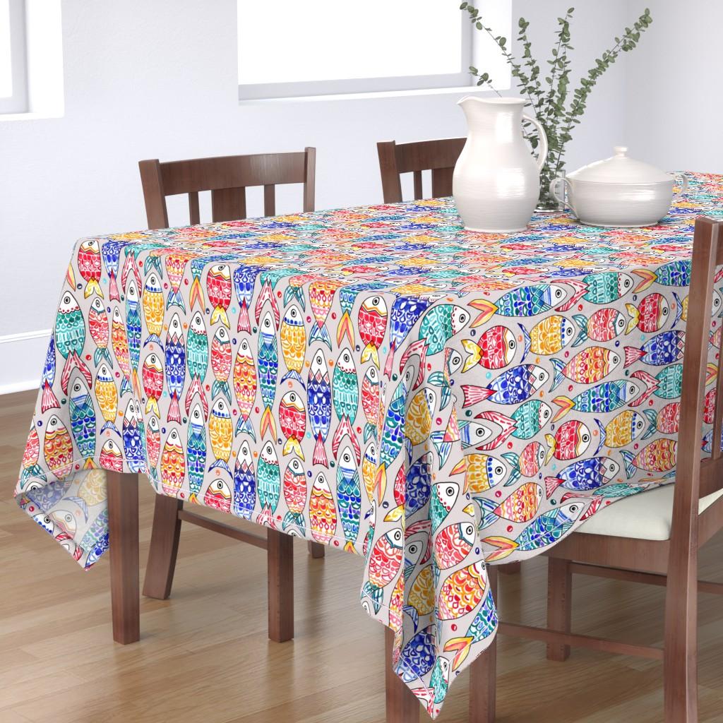 Bantam Rectangular Tablecloth featuring Fish Scales Print (Large Version) by tigatiga