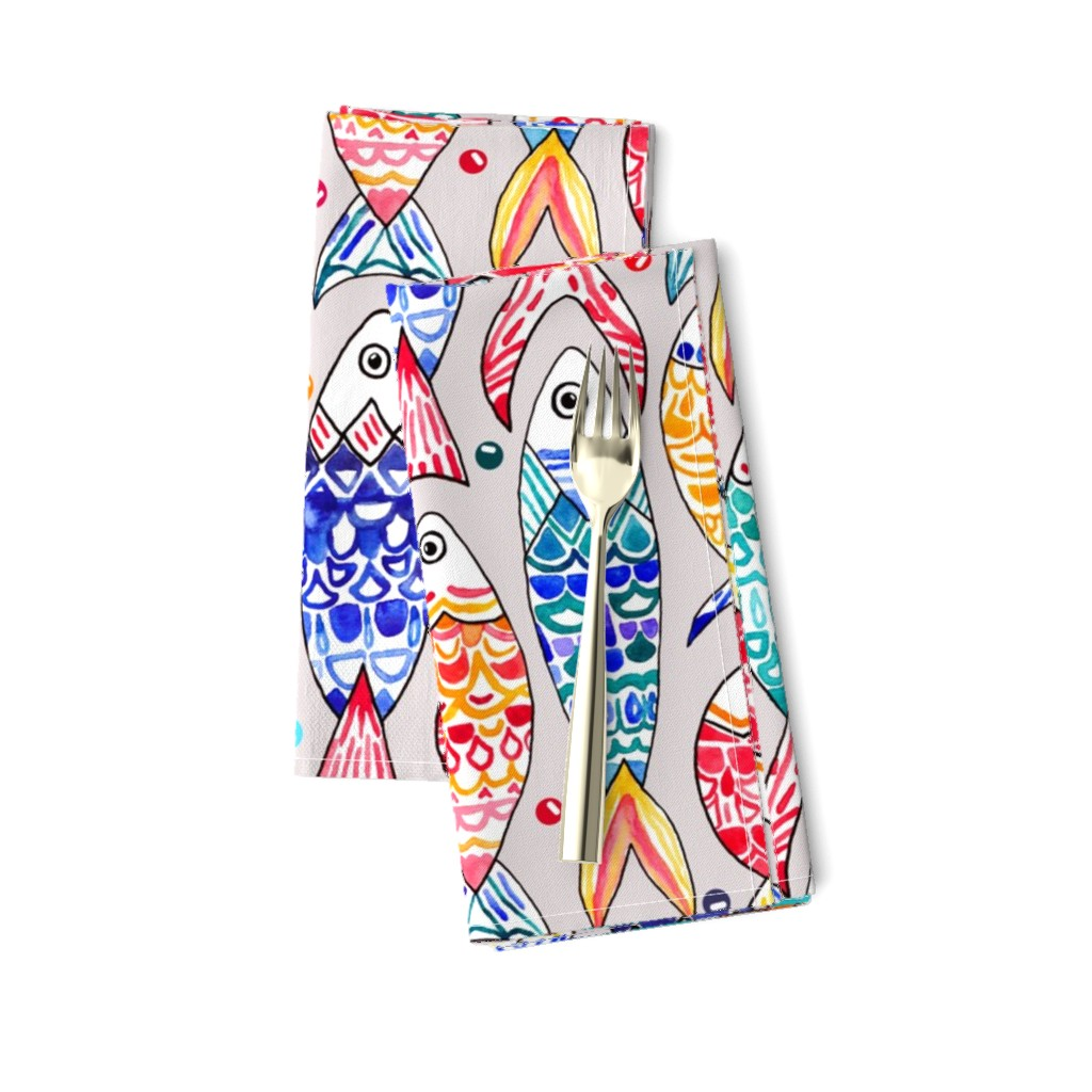 Amarela Dinner Napkins featuring Fish Scales Print (Large Version) by tigatiga