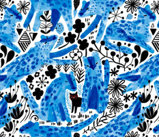 Blue watercolor wild cats. And one little domestic black cutie
