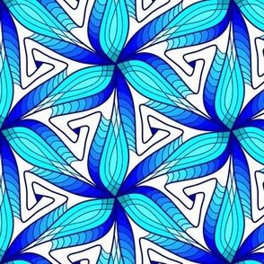 3D Zen Hues of Blues Petal Pattern Spirit Organic