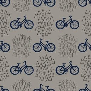 Scandinavian Outdoor Adventure Bikes - Gray + Navy // Cycling Travel in the Great White North // Woodland Mountain Explorers