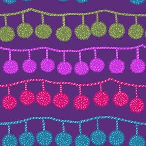 happy ball fringe purple