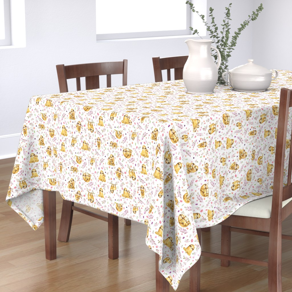 Bantam Rectangular Tablecloth featuring Sloths Hangin On– Children's Bedding Baby Girl Nursery, SMALL Scale by gingerlous
