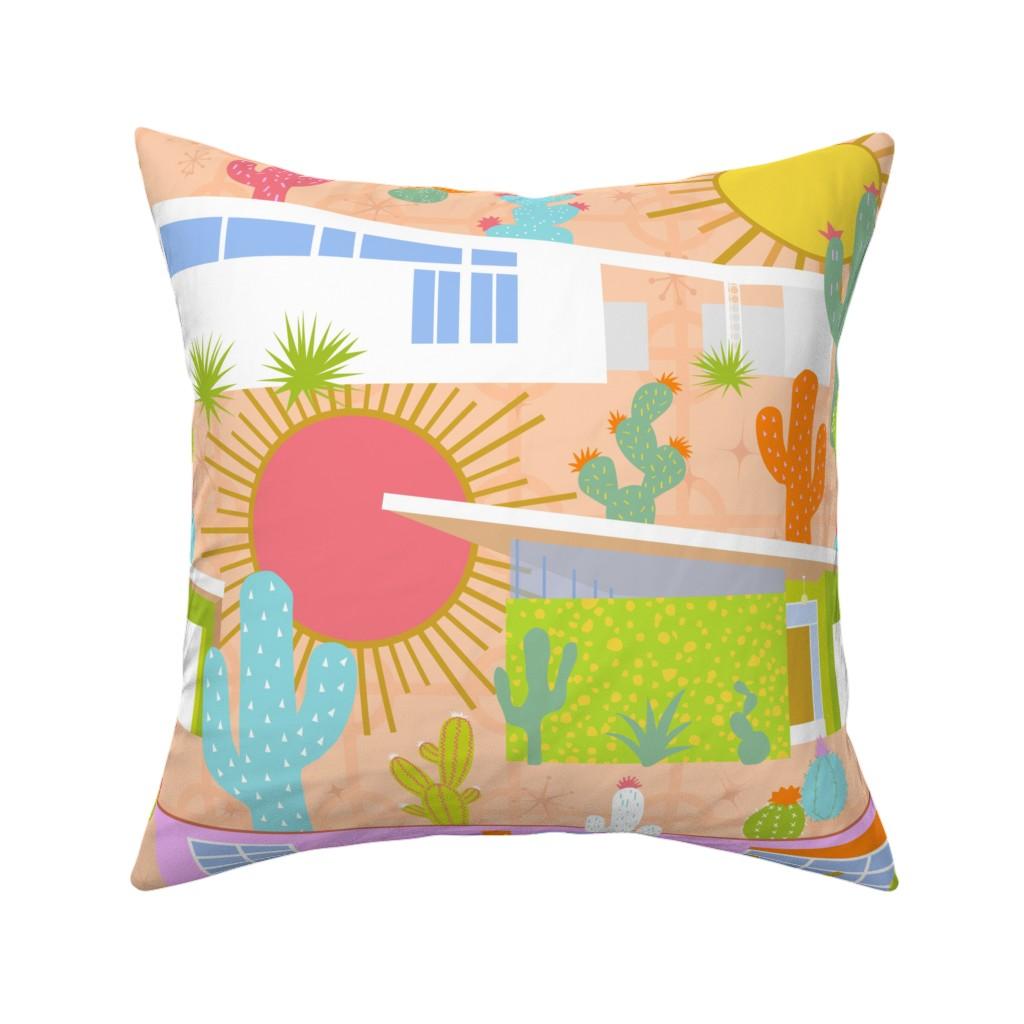 Catalan Throw Pillow featuring Midcentury Modern Desert Neighborhood by elliottdesignfactory