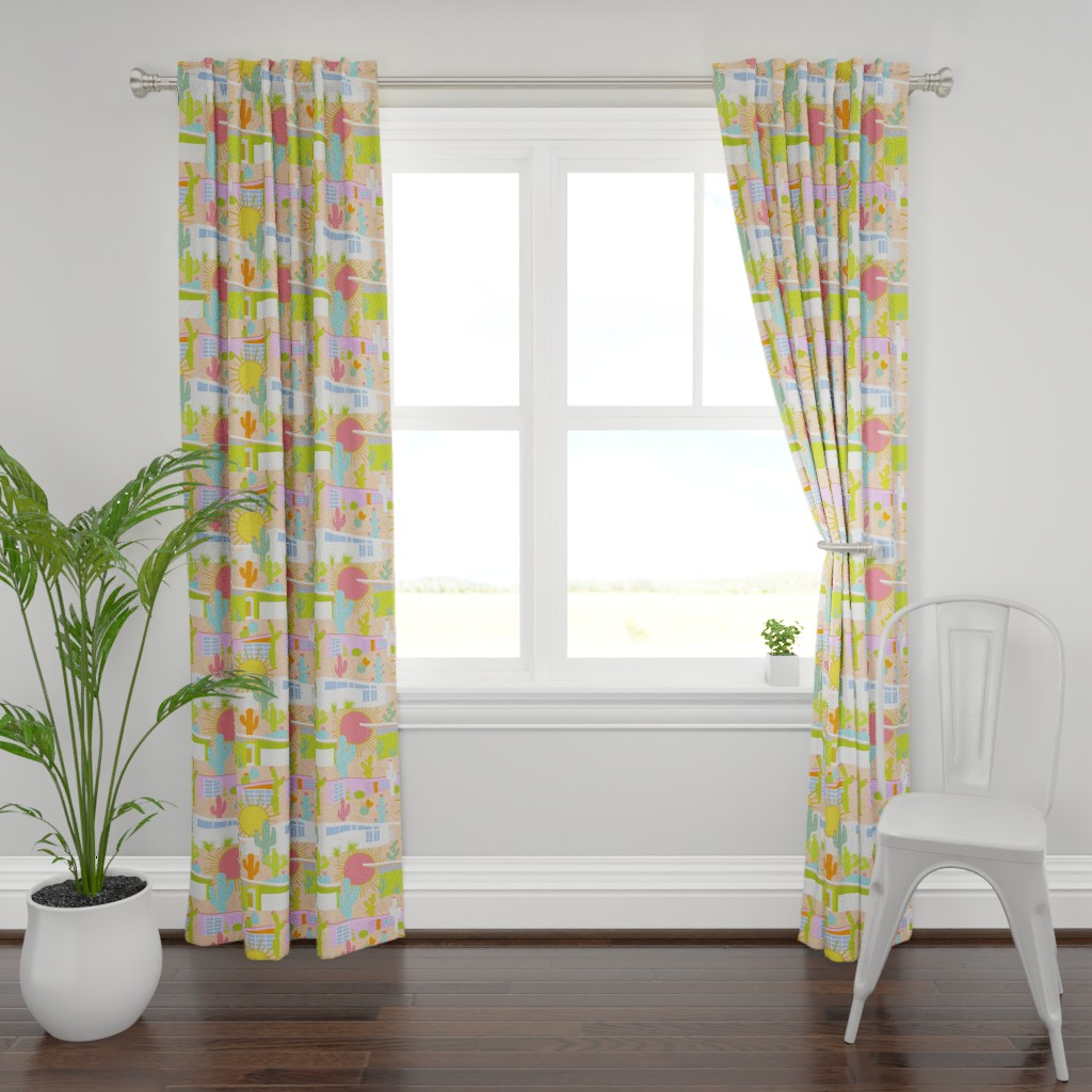 Plymouth Curtain Panel featuring Midcentury Modern Desert Neighborhood by elliottdesignfactory