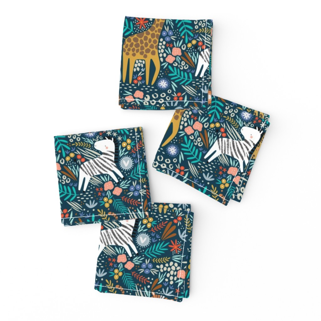 Frizzle Cocktail Napkins featuring Jungle hang out - navy  by sarah_knight