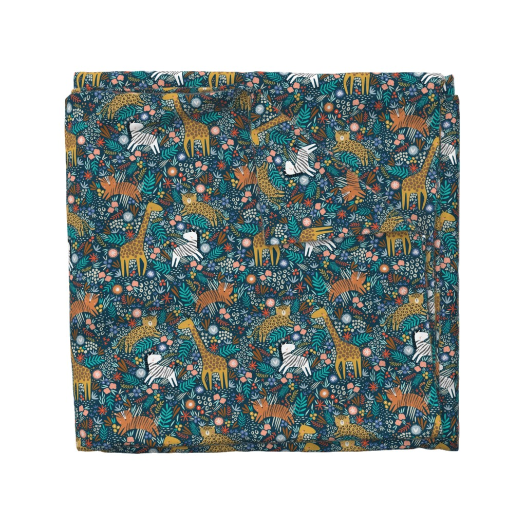 Wyandotte Duvet Cover featuring Jungle hang out - navy  by sarah_knight