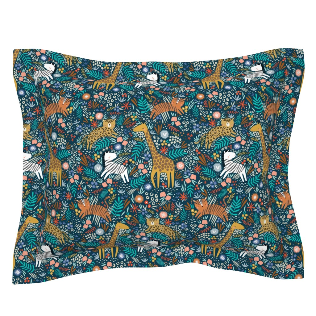 Sebright Pillow Sham featuring Jungle hang out - navy  by sarah_knight