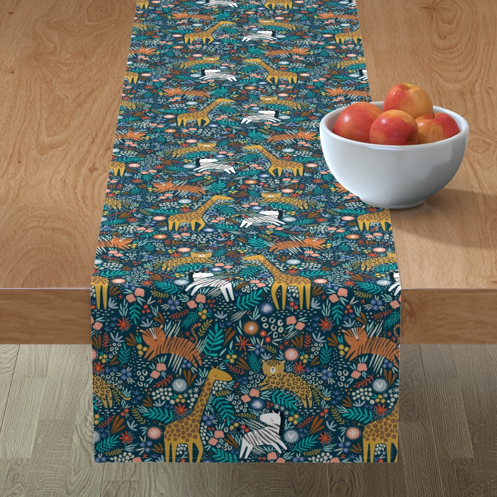 Minorca Table Runner featuring Jungle hang out - navy  by sarah_knight