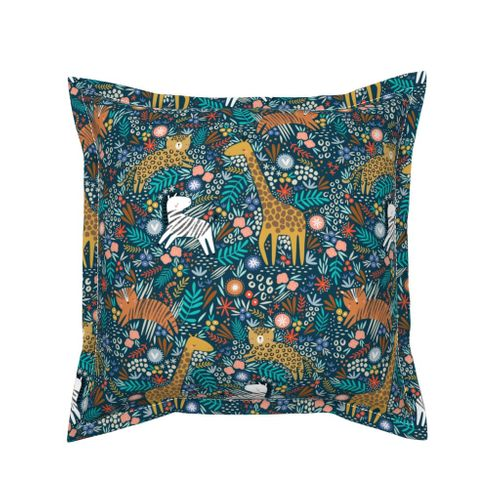 Colorful Fabrics Digitally Printed By Spoonflower Jungle Hang Out Navy