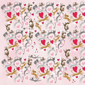 Dogs and cats in love Pink Background
