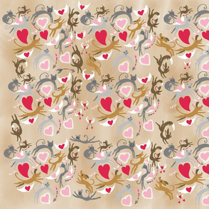 Dogs and cats in love. Chocolate background