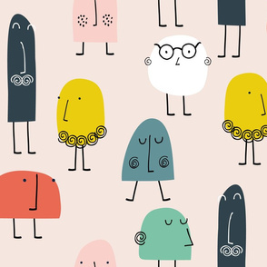Walking faces abstract people mr Men