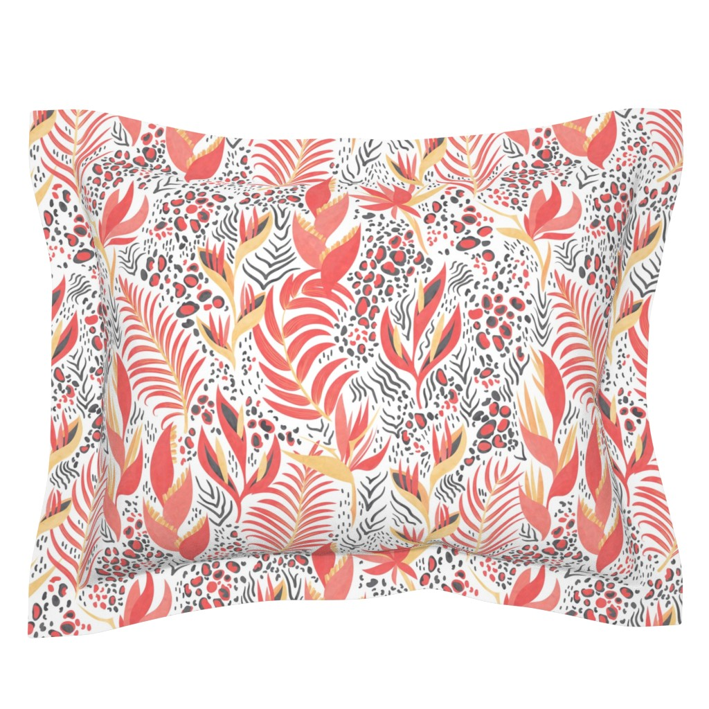 Sebright Pillow Sham featuring Tropical Animal Print on white by lidiebug