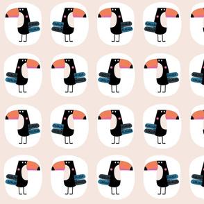 Toucan bird pink pattern