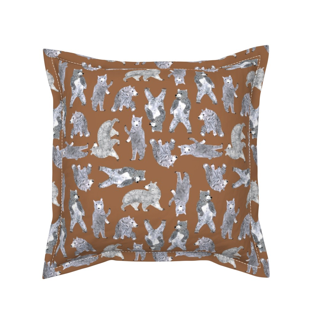 Serama Throw Pillow featuring Oodles of Bears (timber) MED by nouveau_bohemian