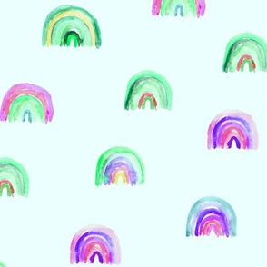 Rainbow baby dreams in green || watercolor pattern for nursery