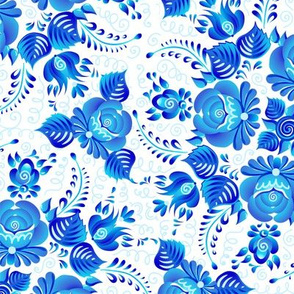 Gzhel flowers seamless pattern