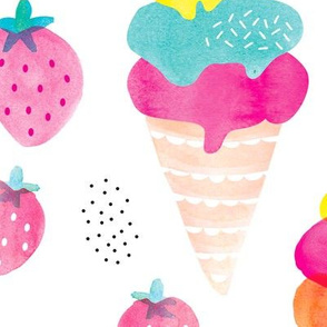 Colorful summer fruit ice cream water melon and strawberry illustration watercolors print JUMBO