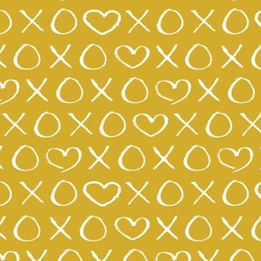 xoxo love hearts hugs and kisses print for lovers wedding and sweet valentine romance mustard ochre yellow
