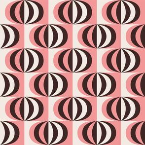 Mid century striped ovals pink fabric