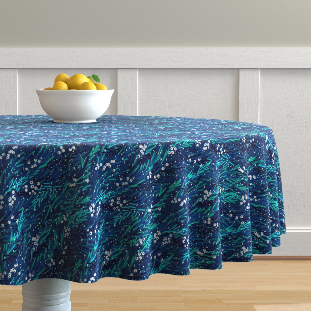 Malay Round Tablecloth featuring Winter Snow Berries   Navy Blue Teal White by southwind