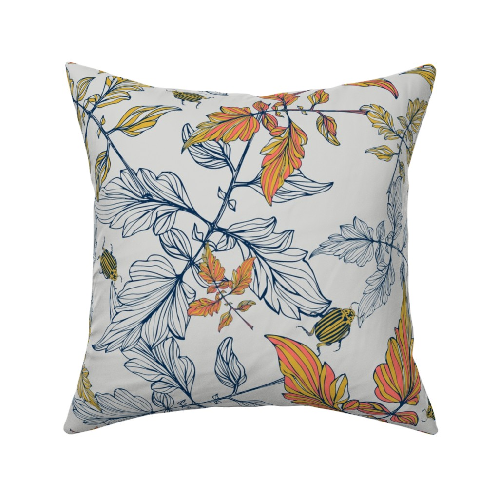 Catalan Throw Pillow featuring Tomatoes leaves and beetle - Pantone  by mab_maborlenghi