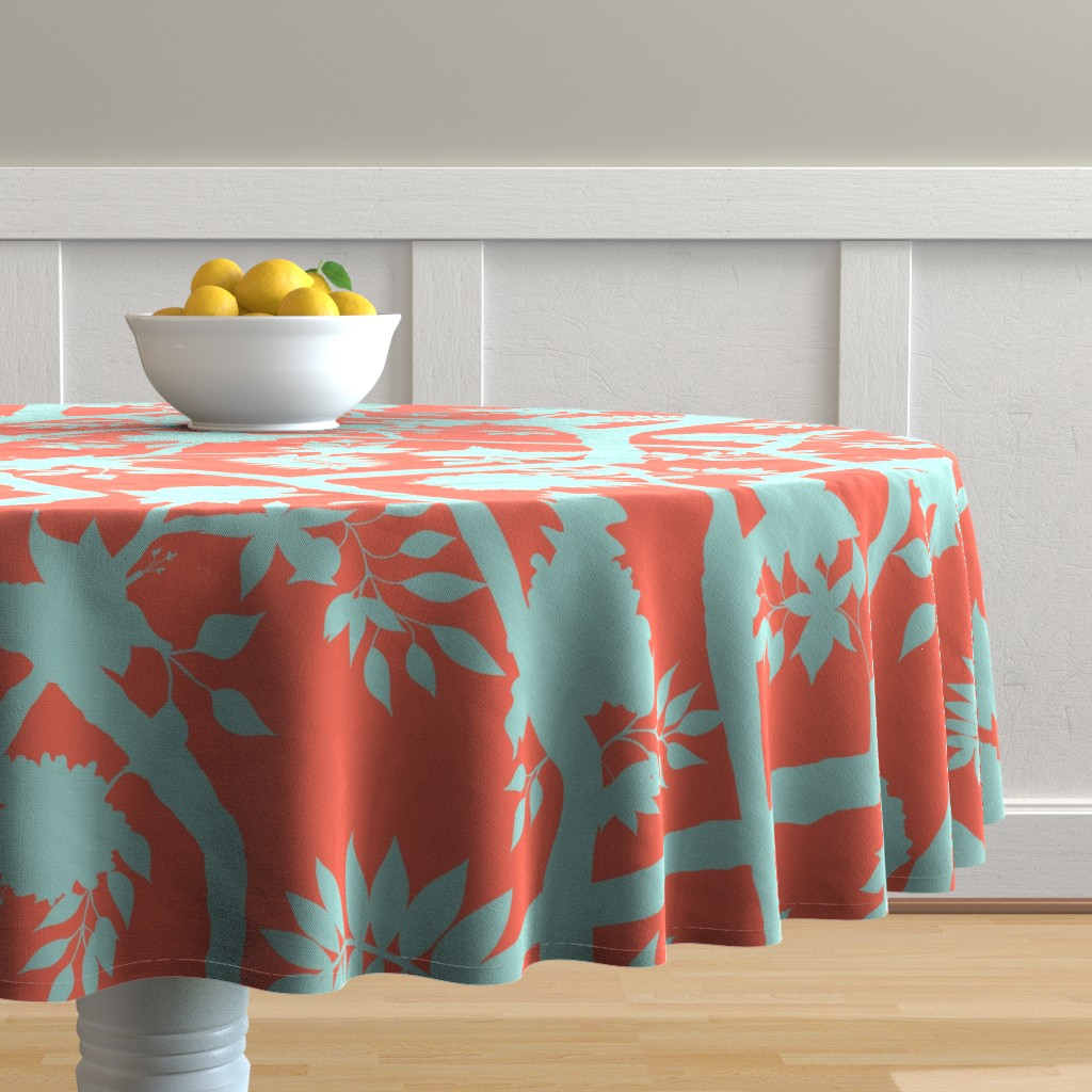 Malay Round Tablecloth featuring  Silhouette Peony Branch Aqua and Orange by danika_herrick