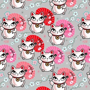 MEDIUM-Geisha Cat-Kyoto Kitty-on Grey