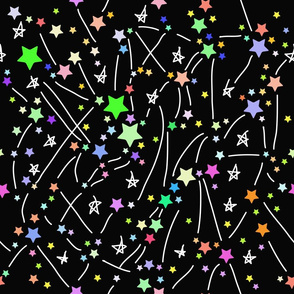 Milky Way Abstract pattern with colored bright stars on black background