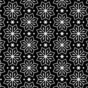 Black and White Flower & Star Pattern
