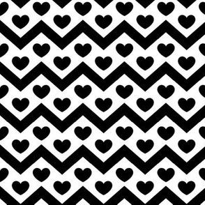Black and White Chevron & Heart Pattern