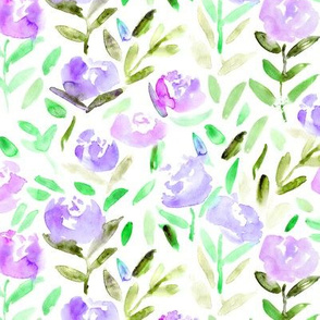 Watercolor florals in lilac || flowers pattern