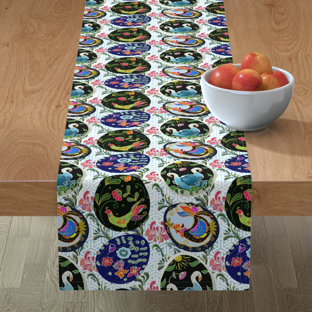 Minorca Table Runner featuring Pretty Pysanky by floramoon