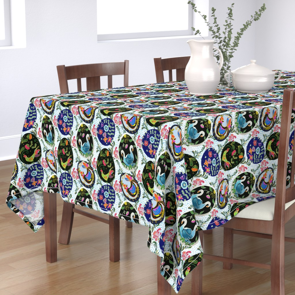 Bantam Rectangular Tablecloth featuring Pretty Pysanky by floramoon