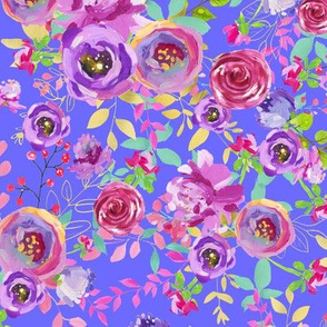 Periwinkle Mint Purple Pink Watercolor Floral