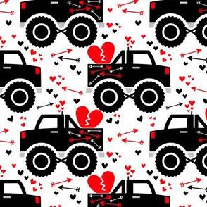 Boy Valentine Monster Trucks Hearts Arrows on White
