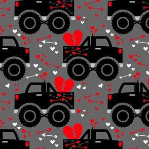 Boy Valentine Monster Trucks Hearts Arrows Charcoal Gray