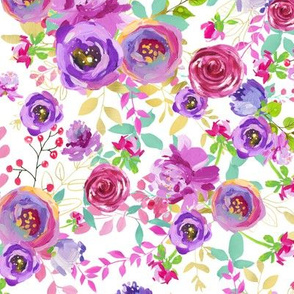 White Mint Purple Pink Gold Watercolor Floral Spring and Summer